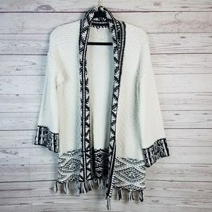 Soft Surroundings Black & White Open Front Sweater